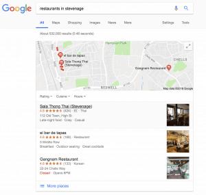 Google My Business Screen Grab Restaurants Stevenage